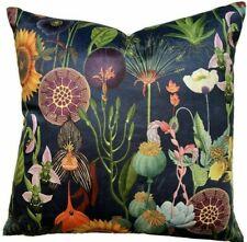 """Poppy Italian Velvet Cushion Cover Navy Blue Yellow Sunflowers Floral 20"""" Square"""