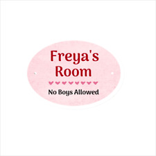 Personalised Girl's Room Plaques Kids Oval Name Door Sign Gift FRP Plastic