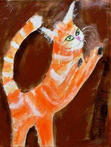 Orange CAT  PAINTING original SWARTZMILLER DNA SIGNED Pop ART Outsider UPCYCLED