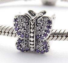 BUTTERFLY w PURPLE CZ CHARM Bead Sterling Silver .925 For European Bracelet 906
