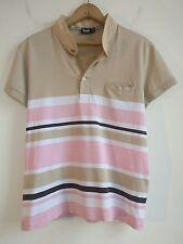 Dolce & Gabbana Mens Polo Shirt Pink/White/Tan/Brown Size Small