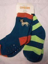 NWT GYMBOREE 2 pr DENIM & TEES Teal Orange DOG Socks Boy Size 12-24 months