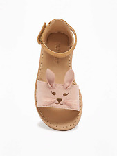 Old Navy Girl's Spr. '17 Sueded Critter Bunny Sandal Shoes Size 5 Toddler NWT