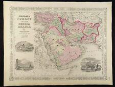 1863 CIVIL WAR MAP OF TURKEY, PERSIA ARABIA  JOHNSON'S  ATLAS, w/ C.O.A. ANTIQUE