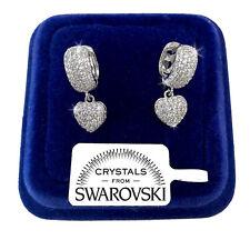 Orecchini Cerchio Cuore Donna pl. oro Bianco 18K con cristalli Swarovski SW/13
