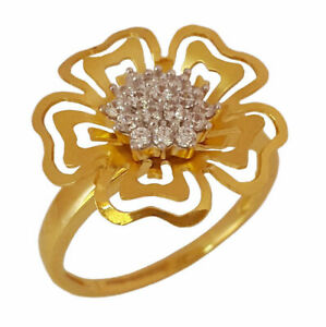 22 Kt Real Solid Yellow Gold CZ Engagement Wedding Women'S Ring Size 6,7,7.5,8,9