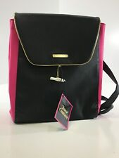 Juicy Couture Women's Expandable Faux Leather Back Pack Tote Bag Black/Pink NWT@