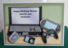 Personalised handmade computer/gadget card  size C5