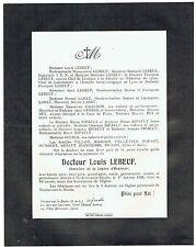 Avis de Décès Docteur Lebeuf - Chevalier Légion d'Honneur - Verdun Doubs 1938