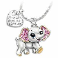 925 Silver Filled Little Elephant Pendant Pink Crystal Necklace Women's Jewelry