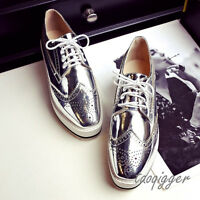 Women Wing Tip Brogue Shoes Lace-up Flats Fashion Breathable Casual Shoes Oxford