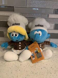 Limited Edition Retired Neuhaus Chocolates Plush Baker Smurf & Smurfette