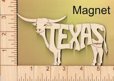 Texas Longhorn Bull laser cut and engraved wood Magnet