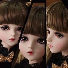 """24"""" 1/3 BJD Doll Ball Jointed Girl Dolls w/ Removable Eyes Face Makeup Wig Dress"""