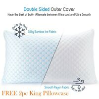 Cooling Memory Foam Pillow Ventilated Bed Pillow Infused Cooling Gel King 3 Pack