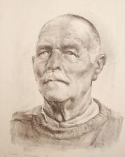 1960 Old man portrait lithograph print signed
