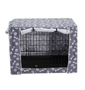 Dog Crate Cover XL grey white paw bone print