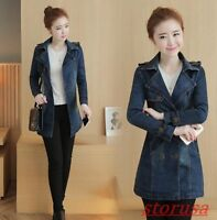 Womens New Mid Long Slim Fit Casual Jeans Jacket Double Breasted Belt Denim Coat