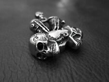Heavy Silver SKULL V twin Engine Pendant Necklace for Harley Davidson Biker 66