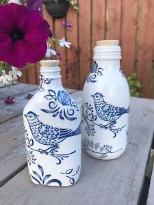 Decoupaged Bird Bottles