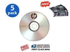 5PK HP Logo 16X DVD-R DVDR Blank Disc Storage Media FREE Slim Jewel Case