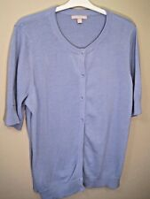 Woman Within Ladies Cardigan Sweater size 1X Blue 8 button front 100% cotton