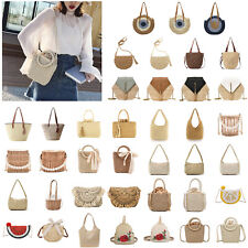 Summer Straw Rattan Bag Handmade Woven Beach Messenger Shoulder Tote Bag Handbag