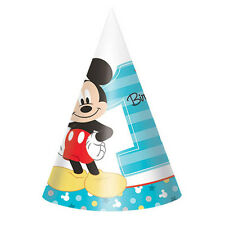 8 Disney Mickey Mouse Fun to be One 1st Birthday Party Paper Cone Hats