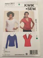 Kwik Sew Pattern 3617 Knit Top Scoop Neck V-Neck Sleeve Variation XS-XL Uncut