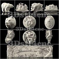 11 3D STL Models Bear Panels for CNC Router Carving Machine Artcam aspire Cut3D