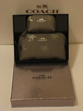 COACH SET OF 2 SHOOTING STAR COSMETIC CASES IN A SILVER GLITTER GIFT BOX F64644