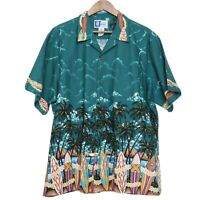 RJC Vintage Mens Hawaiian Shirt teal blue-green cotton Surfboards Size XL USA