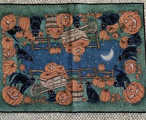 Tapestry, Halloween with Black Cats and Pumpkins Throw Rug