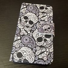 iPod Touch 5th & 6th Gen - Leather Card Wallet Case Black White Paisley Skulls
