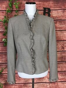 Escada Blazer Jacket 40 10 Brown White Wool Silk Diamonds Ruffles Wedding Career