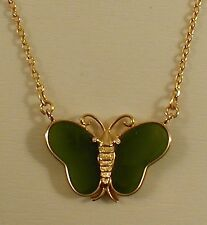 GOLD PLATED  REAL JADE BUTTERFLY PENDANT ON CHAIN