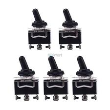 5x 20A 125V Heavy Duty SPDT 3 Term (ON)-OFF-(ON) Toggle Switch w/Waterproof Boot