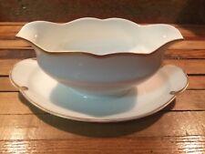 Thomas Sevres Bavaria Porcelain Gravy Boat Dish Attached Underplate White Gold