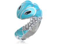 Striking Blue Genuine Rhinestone Mosaic Bodied Wrapping Snake Sized Ring Jewelry