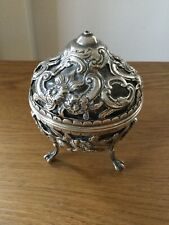 "ANTIQUE SOLID SILVER STRING BOX WITH ""FAUX TORTOISESHELL"" LONDON 1887"