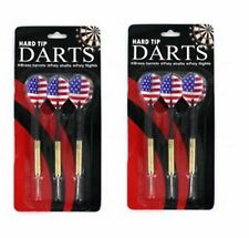 6 Piece USA American Flag Hard Steel Tip Darts Brass Barrels Poly Shafts Flight