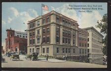1915 POSTCARD AKRON OH/OHIO FIRE DEPT CITY HALL & BANK BUILDING