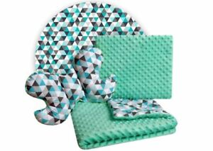 Baby Bedding Set 3in1 For Cradles Baby Strollers Blanket Pillow Green Mint 3pcs
