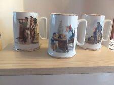 Set of 3 1985 Norman Rockwell Museum Seafaring Tankard Mugs