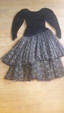 Droopy Browns 1980's vintage cocktail dress.Size 10 UK.Black velvet,gold flowers
