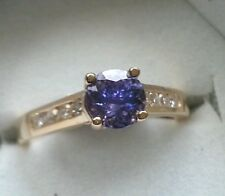 14k Solid Yellow Gold 1.23 ct  VVS AAA Tanzanite Diamond Ring   4.6 Grams