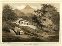 Chinese Temple Hong Kong Buddhist Monks 1856 Perry Expedition litho view print