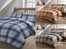 Thermal Tartan Flannel Christmas Duvet Cover Set Check Brushed Cotton All Sizes