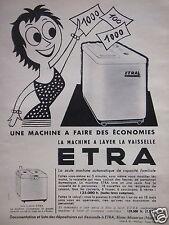 PUBLICITÉ 1956 ETRA MACHINE A LAVER LA VAISSELLE - ADVERTISING