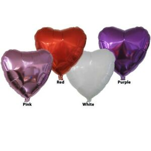"""Lot- 58 Mylar Heart Balloons 5"""" Red Purple White Pink sticks/cups Valentines Day"""